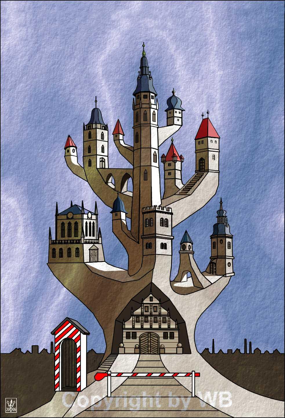 Computermalerei von Werner Bernreuther: Turmbau